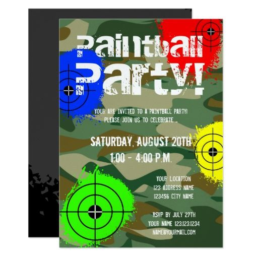 best 25+ paintball party ideas on pinterest | camouflage party, Party invitations
