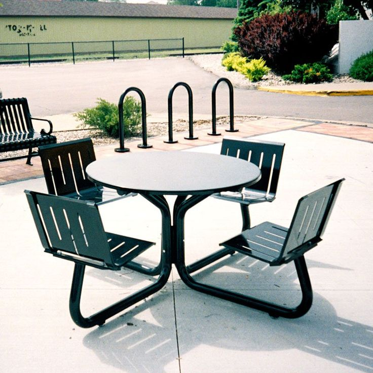 Superior Outdoor Petersen Parkhill 81 In. Round Commercial Steel Picnic Table With  Attached Seats   510