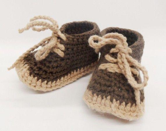 Crocheted Work Style Baby Booties  Brown by sandrastudio on Etsy, $25.00
