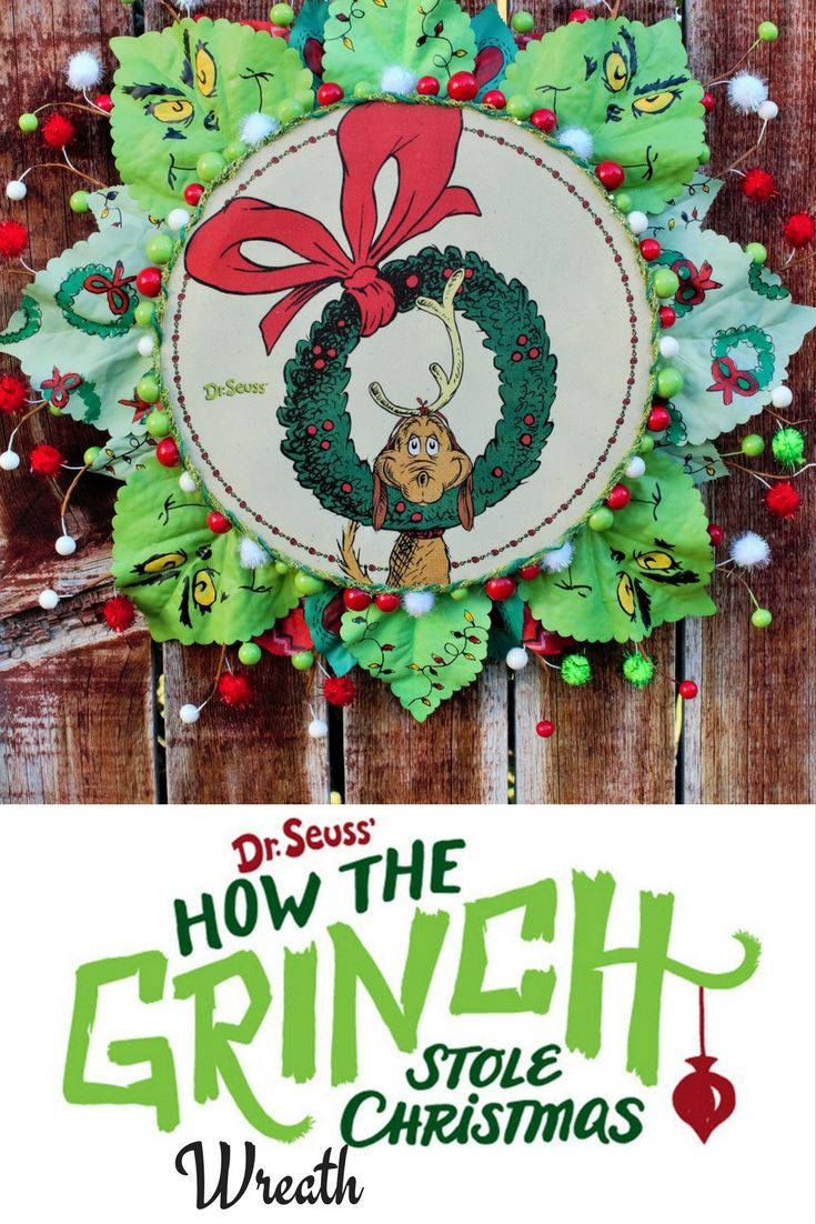How The Grinch Stole Christmas Wreath. This one of a kind wreath has hand painted leaves, whimsical small spheres around the whole wreath and a cute picture of Max in the center.   #howthegrinchstolechristmas #wreath #christmas #christmaswreath #grinch #grinchwreath #Drseuss #handmade #handpainted #etsy #etsywreath #urbanwreath #winter #christmascartoon #grinchface #grinchdecor #walldecor #oneofakind #shopping #onlineshopping #etsyshopping #etsyshop #etsyseller #lovewhatido #working