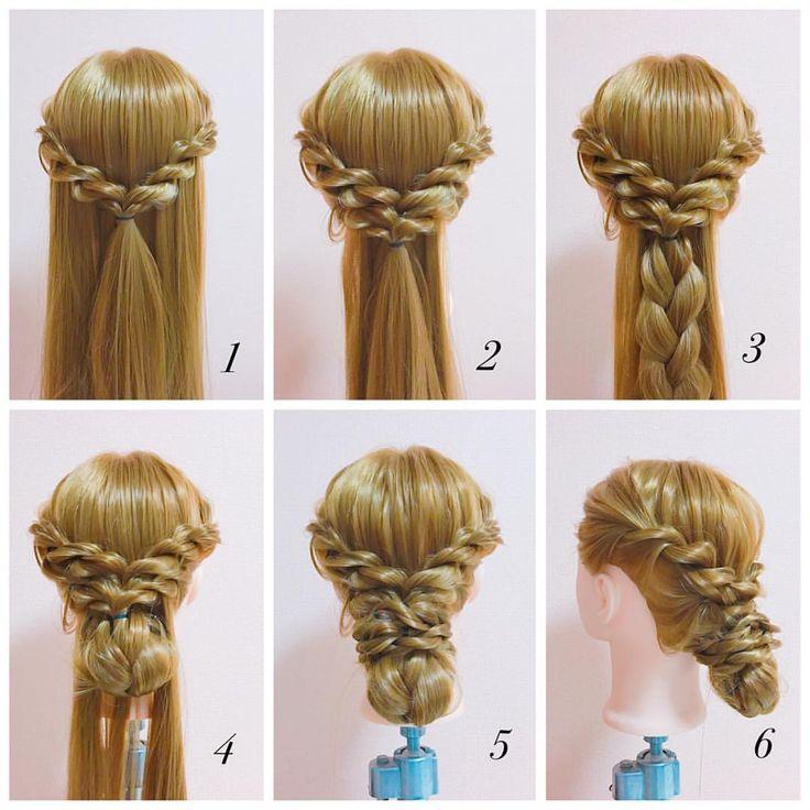 . . ロープ編みアレンジ✳︎how to ✨ . ① 耳上両サイドの髪をロープ編みし、1つにまとめる ② ☝︎の下の髪もロープ編みし、まとめる ③ まとめた髪を全て三つ編みにする ④ 三つ編みをした髪を折り畳み小さくしピンで固定 ⑤ 余っている髪を二等分し、ロープ編みをして折りたたんだ髪に巻きつけ完成 ⑥ 横側 . #簡単ヘアアレンジ#簡単#ヘアアレンジ#wedding#weddinghair#hair#hairarrange#howto#手順#ヘアアレンジ解説#ブライダル#パーティ#結婚式#かわいい#三つ編み#編み込み#まとめ髪#セルフ#セルフヘアアレンジ#アップ#アップスタイル#アップアレンジ#ヘアアレンジやり方