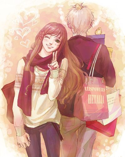 Cute Anime Couple Yup He Shops For Her