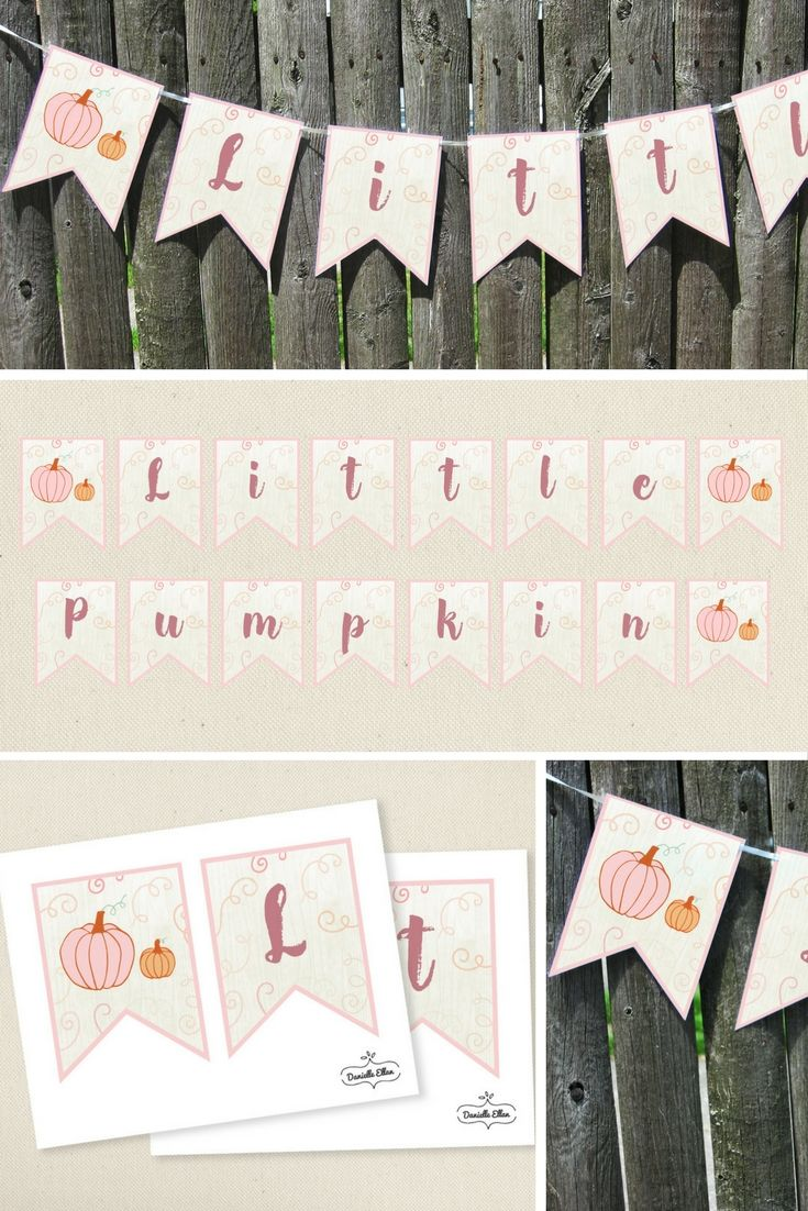 Little Pumpkin Party Decorations are perfect for the soon to be mother expecting in the fall season or for your adorable Little Pumpkin's first birthday party. Designs feature pink pumpkins – great for your sweet little girl. All files are available for INSTANT DOWNLOAD immediately after purchase. Make your party memorable with DIY Printable Decorations by Danielle Ellan.  These pair nicely with my Little Pumpkin invitations.