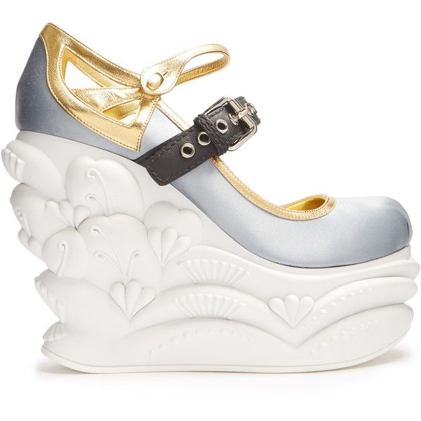 Miu Miu Embossed satin ballet wedge pumps ($1,175) ❤ liked on Polyvore featuring shoes, pumps, light blue, platform shoes, blue pumps, white pumps, white ballet shoes and blue wedge pumps