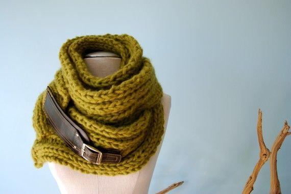 Handknit Scarf alpaca olive green leather by EandAHeritage