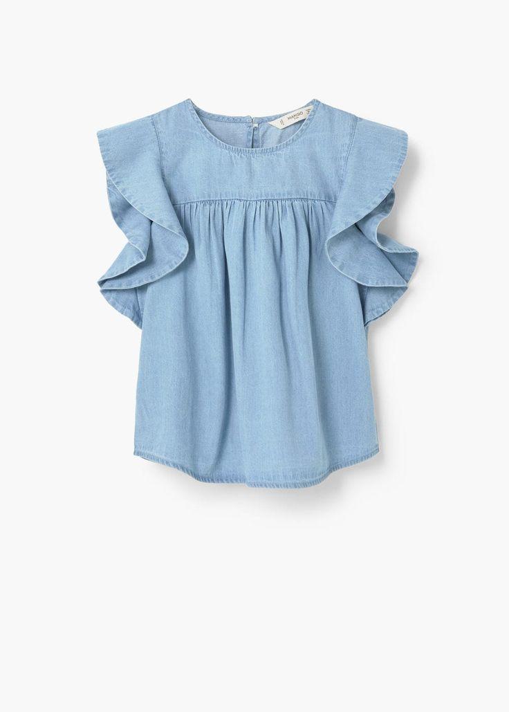 Jeansskjorta med volang - Barn | MANGO Kids Sverige