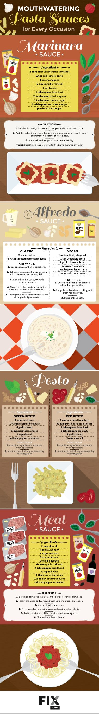 Do more than just open a jar on your next pasta night! Here are tips on making pesto, tomato, Alfredo, and meat sauces at home!