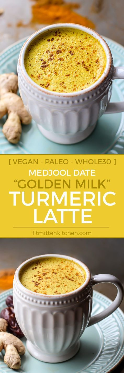 """This Medjool Date """"Golden Milk"""" Turmeric Latte is the perfect caffeine-free cozy drink!"""