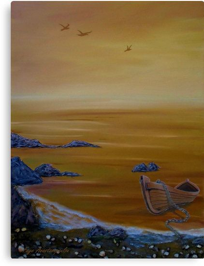 Seascape, painting, wall,art,coastal,scene,boat,sea,orange,sunset,sunrise,gold,golden,nautical,marine,island,water,wooden,beautiful,images,home,office,decor,artwork,for,sale,contemporary,modern,cool,awesome,fine,oil,items,ideas, redbubble