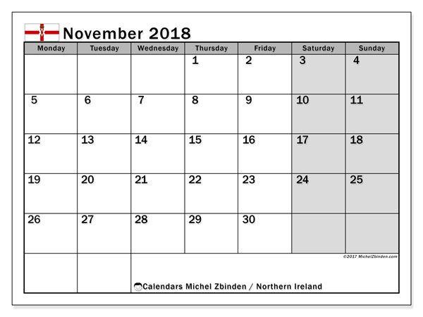 November 2018 Calendar Ireland November Calendar 2019 calendar