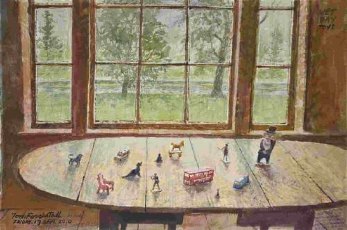"""This is a watercolor that my father, Tom Forrestall made at our family summerhouse. It is called """"Rainy Day Toys"""" and is a collection of toys of his children and grandchildren's that were left on a table after play. By Tom Forrestall"""