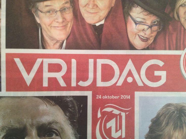 Krant: Telegraaf, hoofdletter, bold, breed, horizontaal