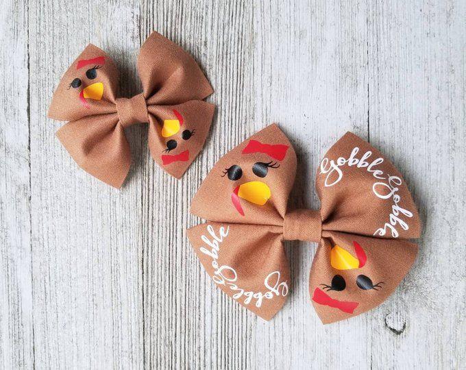 Fall Turkey Thanksgiving Baby Girls Toddler Hair Bows Hair Accessories