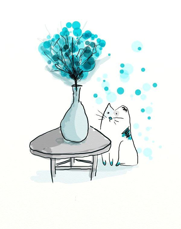 Mavi #çiçekler ve #kedi