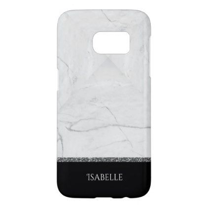 Stylish Marble Stone Silver Glitter Black Samsung Galaxy S7 Case - #customize create your own personalize diy