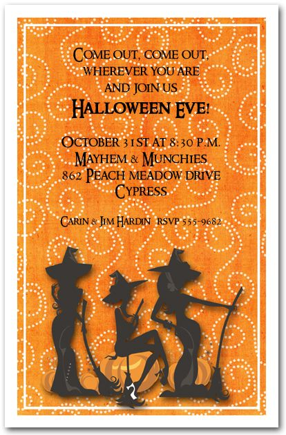 three witches spell halloween invitations  halloween