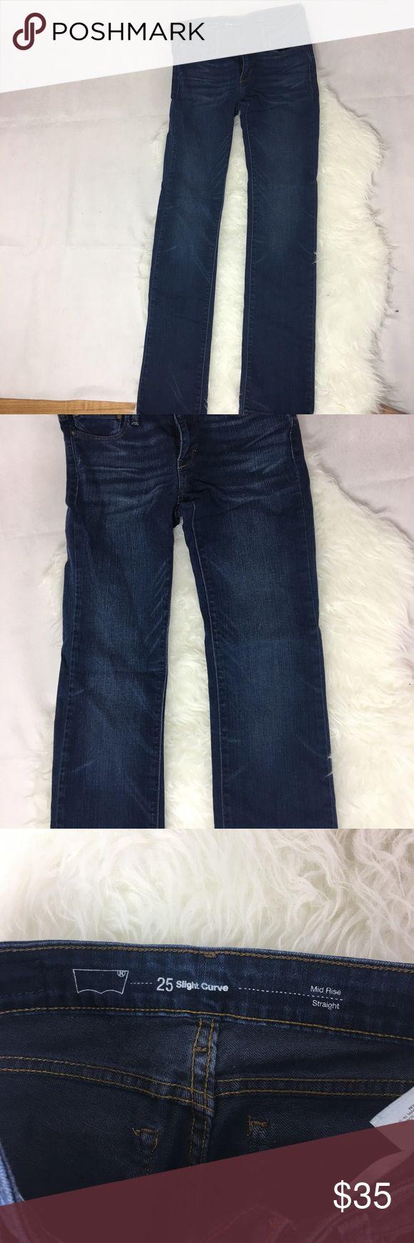 Levi's jeans denim straight mid rise jean women 25 Awesome jeans Levi's Jeans Straight Leg
