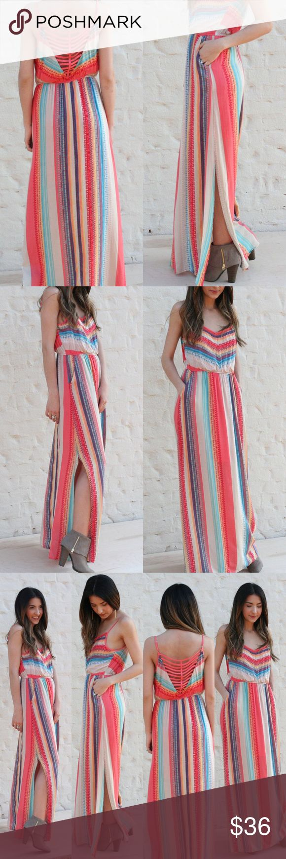Kaleidoscope Maxi Dress Multi Color Maxi dress with pockets and side slit detail. Adorable cut-out back. Perfect for spring and summer! Dresses Maxi