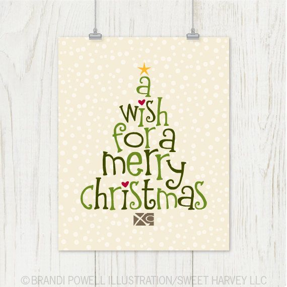 Christmas Tree Typography Print: Merry Christmas Poster- Snow, Winter, Star - Modern Typography, Forest Green, Chartreuse, Red, Ivory 8 x 10. $18.00, via Etsy.