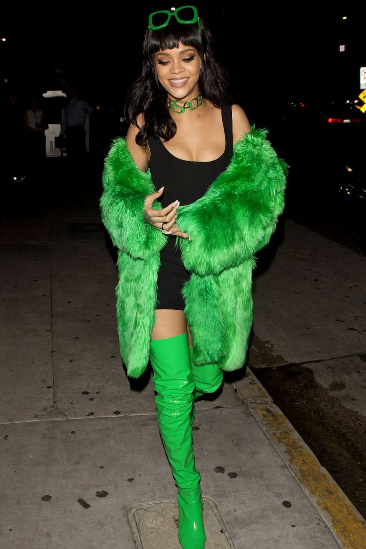 Rihanna's BITCH BETTER HAVE MY MONEY outfit: black dress + green sunglasses + green fur coat + green thigh high boots