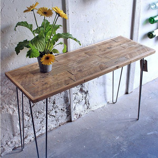 Revive Joinery Reclaimed Wood Hairpin Leg Patchwork Console Table (£410) ❤ liked on Polyvore featuring home, furniture, tables, accent tables, salvaged wood table, hand made furniture, recycled wood furniture, reclaimed wood furniture and reclaimed wood table