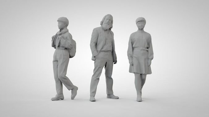 set of low poly people 16 | 3D Model