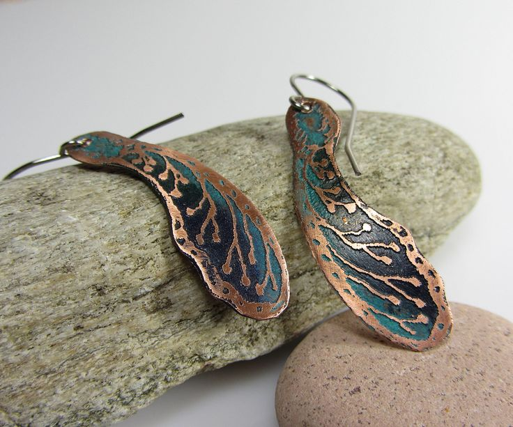 Blue Jewelry Handmade Copper Earrings Handmade Gift for Anniversary Copper Anniversary Gift Light Weight Earrings Natural Earrings by DrahomiraJewelry on Etsy https://www.etsy.com/listing/564072086/blue-jewelry-handmade-copper-earrings