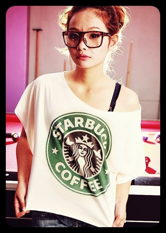 STARBUCKS T-Shirt Crop Top Wide Neck Shirt Antique Off White Women Tee Shirt Free Size Fits For S M L XL. $16.99, via Etsy.