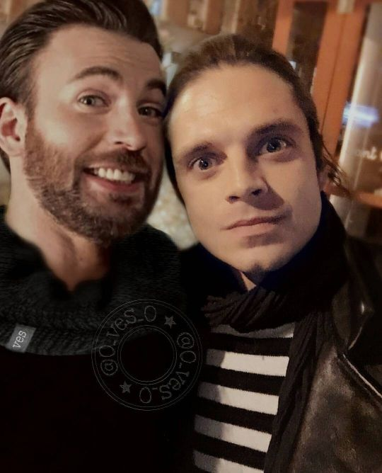 Chris Evans and Sebastian Stan....lol. Sebastian had the crazy eyes going on there and Chris is just like help me.....
