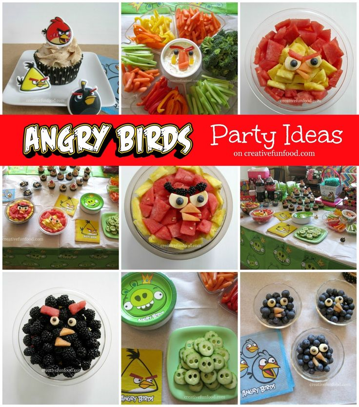 Angry Birds Birthday Party Ideas on creativefunfood.com!! :: Healthy and simple fun food ideas for an Angry Birds themed Party :) Marie good idea for Shane