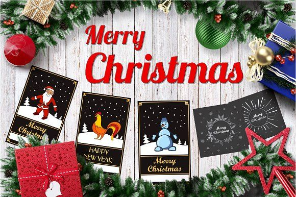 Christmas set of cards by Dukesn on @creativemarket