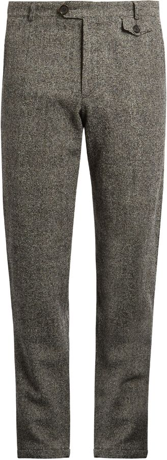 Oliver Spencer Fishtail Tapered Leg Textured Wool Trousers
