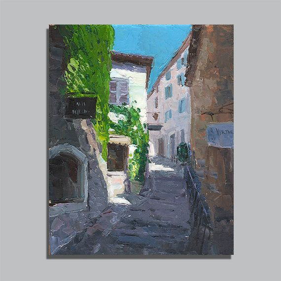 Gift  Cityscape France Provence Original Oil Painting Palette