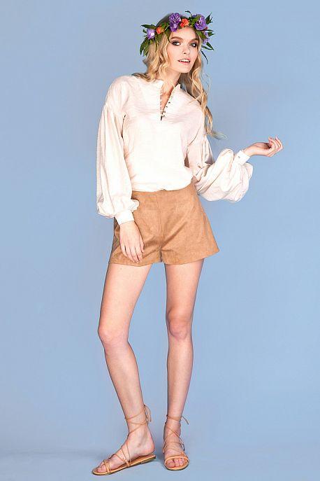 Блуза из хлопка молочного цвета