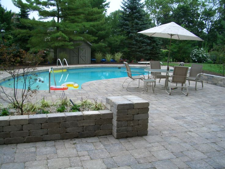 Gray Pool Patio Paver And Retaining Wall