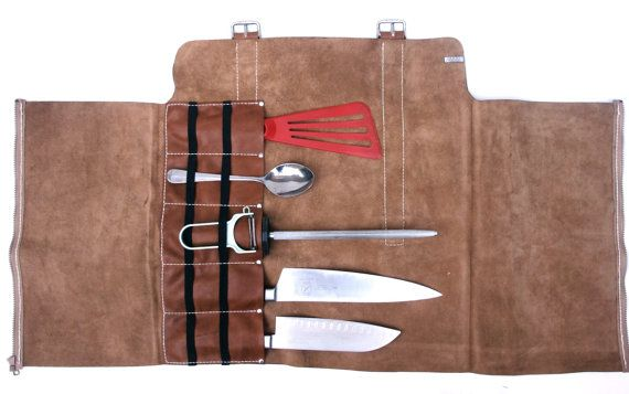 Stage Chef Knife Bag - Roll-Style - Milk Chocolate Calf Leather