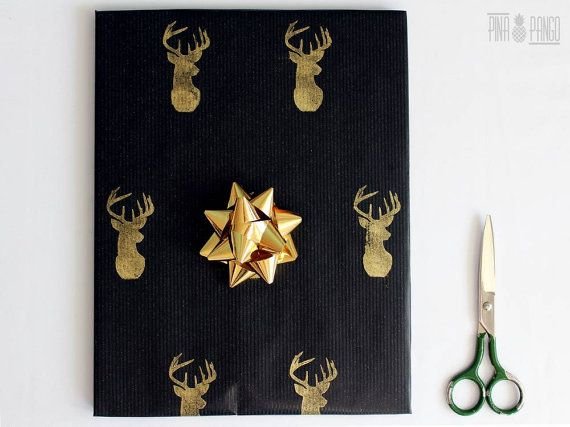 Christmas wrapping paper | Black gift paper | Hand printed kraft paper | Stamped paper | Gold deer stamp | 27.5x39.5'' | 70x100cm
