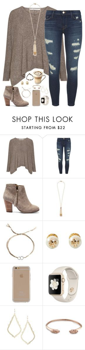 """your vibe attracts your tribe"" by kaley-ii ❤ liked on Polyvore featuring J Brand, Sole Society, Miriam Haskell, Dogeared, Tory Burch, Agent 18 and Kendra Scott"