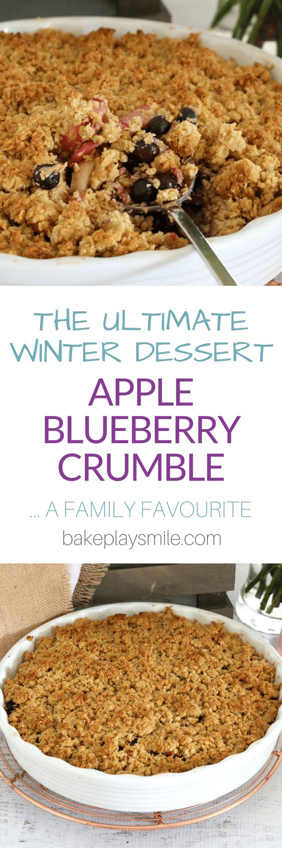 THE ULTIMATE APPLE BLUEBERRY CRUMBLE!!!! This really is the best ever apple and blueberry crumble! It's so simple to make, takes only 10 minutes to prepare and is a sure winner with the whole family! Serve with ice-cream, custard or cream for a truly del