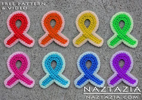 Free Pattern - Crochet Awareness Ribbon Refrigerator Magnet for Breast Cancer and Other Causes with YouTube Tutorial Video by Naztazia