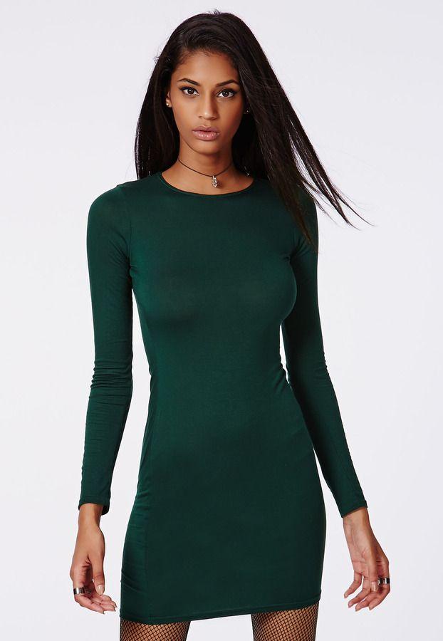 Deep Green Long Sleeve Bodycon Dress Deep Green