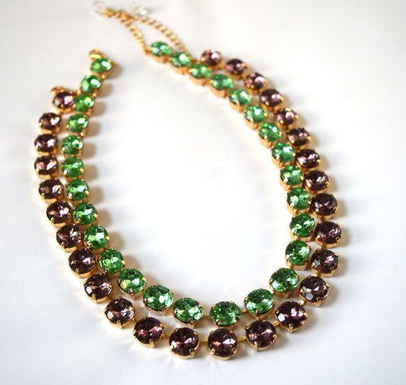Green Anna Wintour Necklace Peridot Necklace Set Georgian