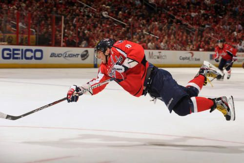 Alex Ovechkin flying shot