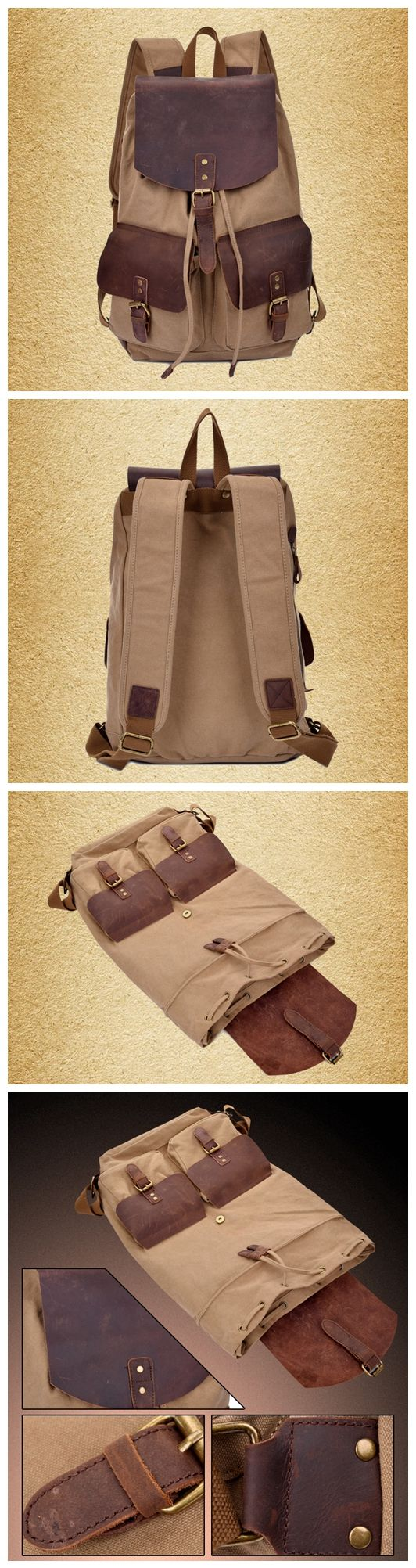 Moshi Hot Sale Canvas Leather Backpack, School Backpack, Waxed Canvas Backpack