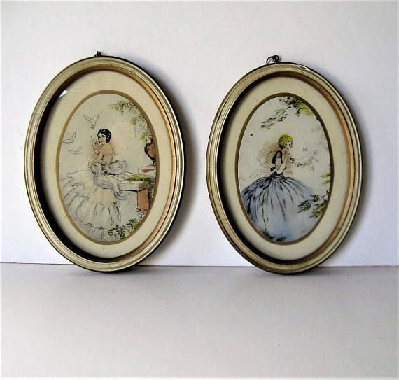 Set of 2 vintage framed Lady prints flapper girls Shabby