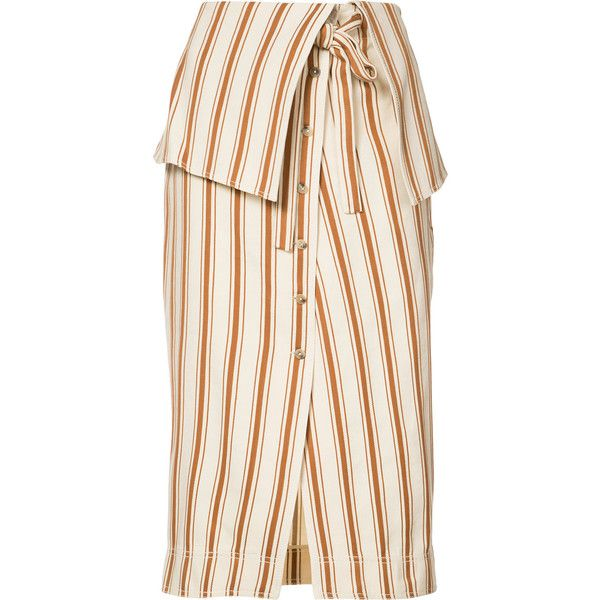 Rosie Assoulin - folded waist striped skirt - women -... (73.425 RUB) ❤ liked on Polyvore featuring skirts, stripe skirt, fold-over maxi skirt, rosie assoulin, white knee length skirt and striped skirts