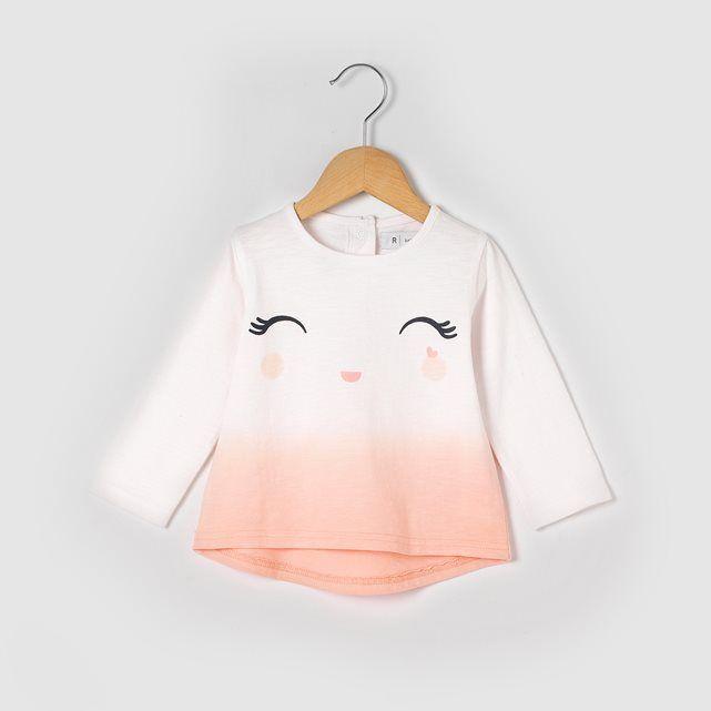 T shirt imprimé visage, manches longues, 1 mois - 3 ans R baby