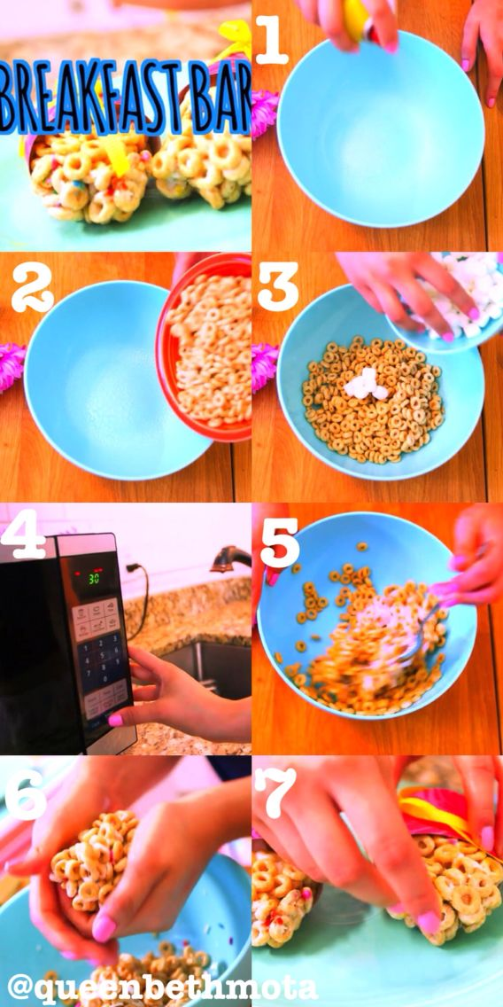 ||BREAKFAST BARS|| This was in Beth's video called Back to School: Life Hacks and Tips. You need cooking spray, a bowl, Cheerios, mini marshmallows, a spoon, and paper and ribbon are optional! // This is ONE of my new boards I will be making more! Get excited! Yay! I will be making a beauty tutorials board and a DIY board of Bethany's stuff! :))