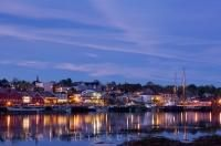 The beautiful town of Lunenburg is lit up at dusk in this picture that shows all the twinkling lights of the historical site. Lunenburg is a UNESCO World Heritage site that was established in 1753 and still retains that charm to this day.