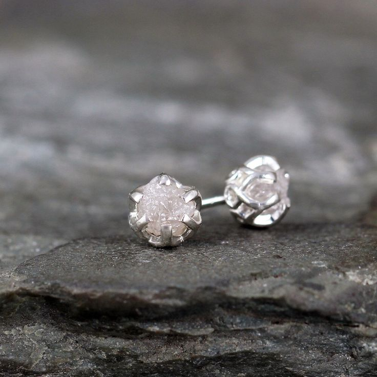 1 Carat Raw Diamond Earrings - Sterling Silver Filigree Inspired - Stud Earring - April Birthstone - Uncut Gemstone - Conflict Free Diamonds by ASecondTime on Etsy https://www.etsy.com/listing/178743743/1-carat-raw-diamond-earrings-sterling
